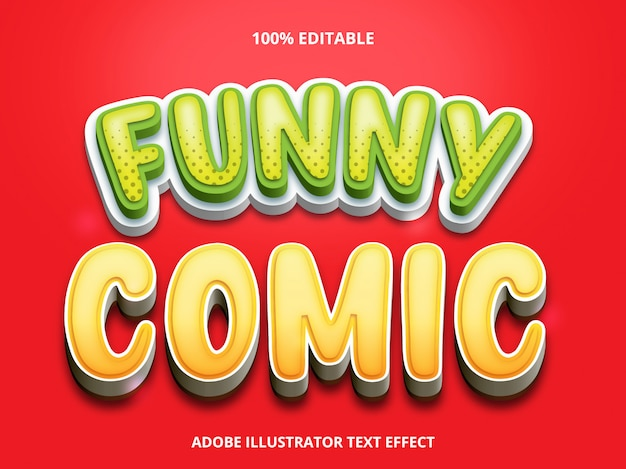 Bewerkbaar teksteffect - grappige komische titelstijl