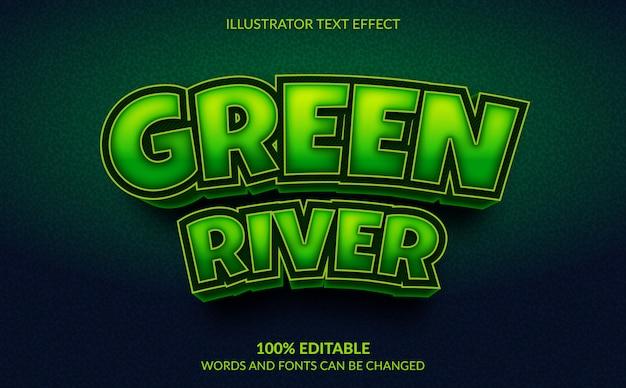 Bewerkbaar teksteffect, green river-tekststijl