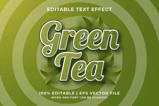 Bewerkbaar teksteffect - groene thee 3d-sjabloonstijl premium vector