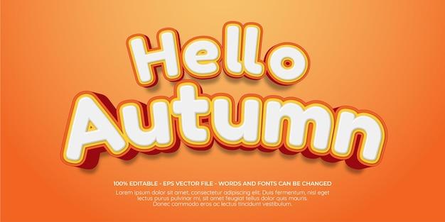Bewerkbaar teksteffect hallo herfst 3d-stijlillustraties