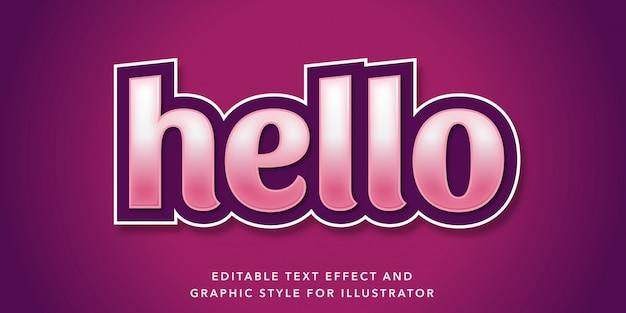 Bewerkbaar teksteffect hallo paarse tekststijl
