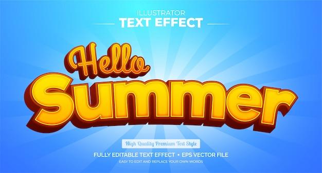 Bewerkbaar teksteffect - hallo zomer teksteffect