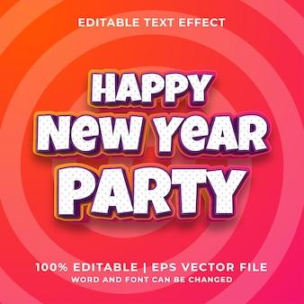 Bewerkbaar teksteffect - happy new year party 3d-sjabloonstijl premium vector