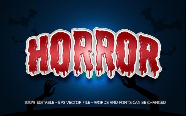 Bewerkbaar teksteffect horror-schreeuwstijlillustraties