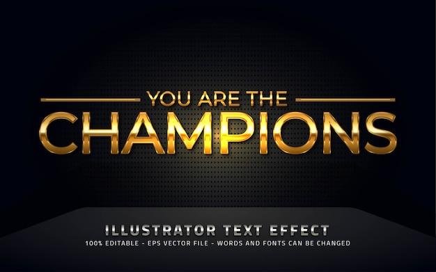 Bewerkbaar teksteffect, illustraties in champions-stijl