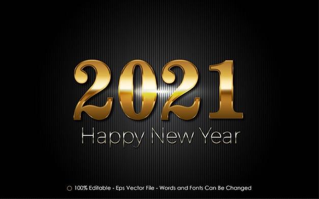 Bewerkbaar teksteffect, illustraties in gelukkig nieuwjaarsstijl uit 2021