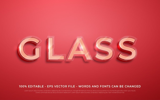 Bewerkbaar teksteffect illustraties in glasstijl