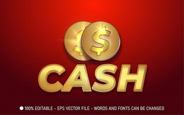Bewerkbaar teksteffect, illustraties in gouden cashstijl