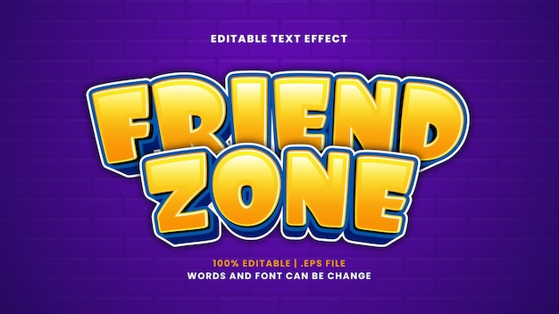 Bewerkbaar teksteffect in de vriendenzone in moderne 3d-stijl