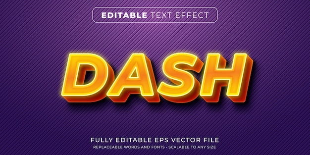 Bewerkbaar teksteffect in gloeiende neongele vetgedrukte stijl