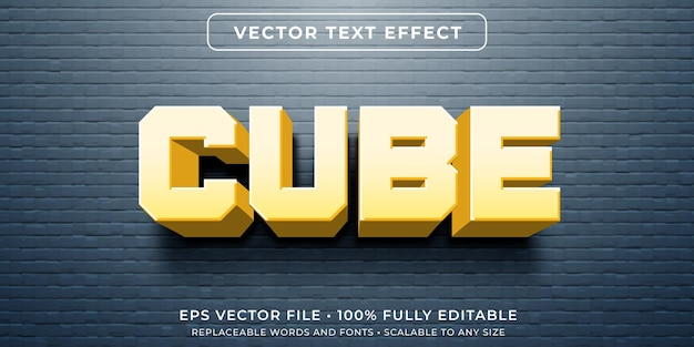 Bewerkbaar teksteffect in kubusvormstijl