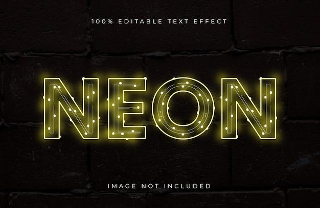 Bewerkbaar teksteffect in neonstijl. licht teksteffect