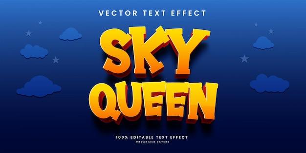 Bewerkbaar teksteffect in premium vector in sky queen-stijl