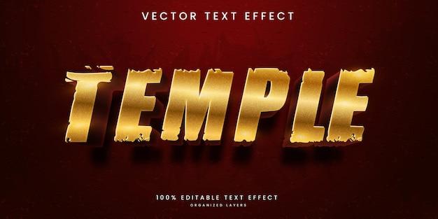 Bewerkbaar teksteffect in premium vector in tempelstijl in oude architectuur