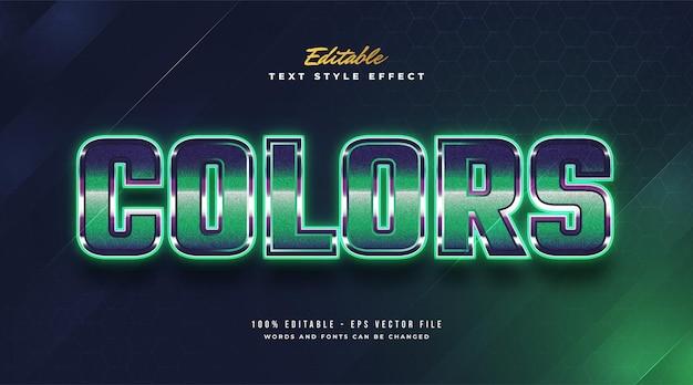 Bewerkbaar teksteffect in retrostijl en gloeiend groen neoneffect