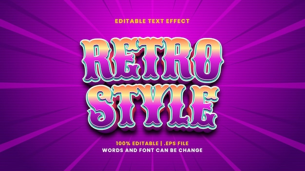 Bewerkbaar teksteffect in retrostijl in moderne 3d-stijl