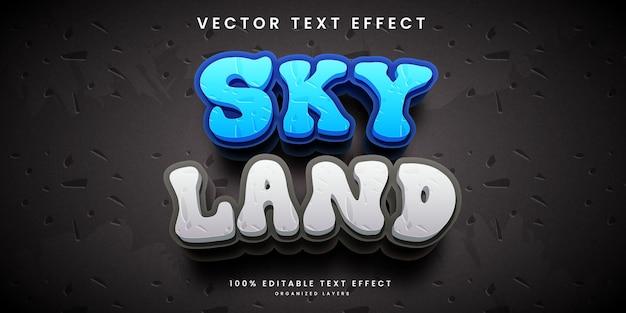 Bewerkbaar teksteffect in skyland-stijl premium vector