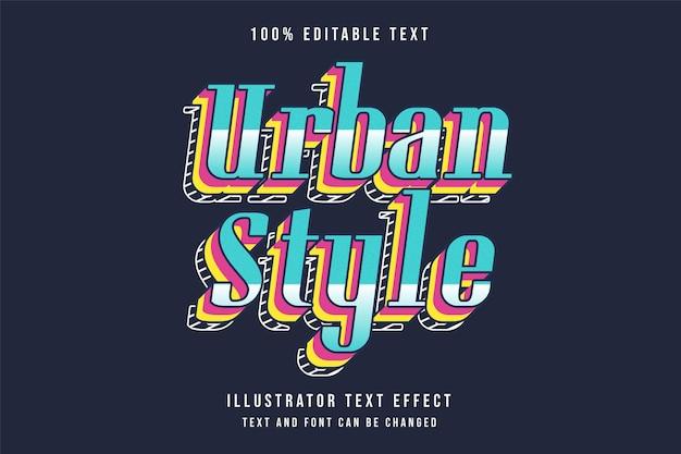 Bewerkbaar teksteffect in stedelijke stijl met blauwe gradatie