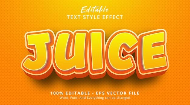 Bewerkbaar teksteffect, juice-tekst op oranje kleurstijleffect