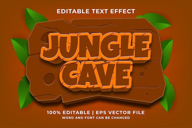Bewerkbaar teksteffect - jungle cave 3d-sjabloonstijl premium vector