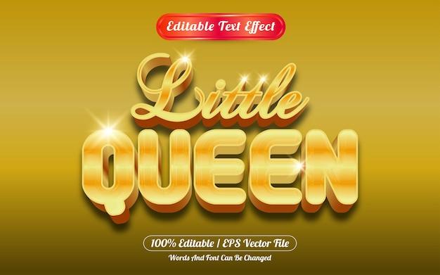 Bewerkbaar teksteffect kleine koningin gouden stijl