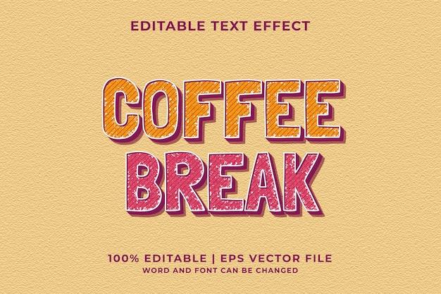 Bewerkbaar teksteffect - koffiepauze sjabloon retro stijl premium vector
