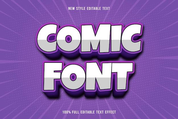 Bewerkbaar teksteffect komische lettertypekleur wit en paars
