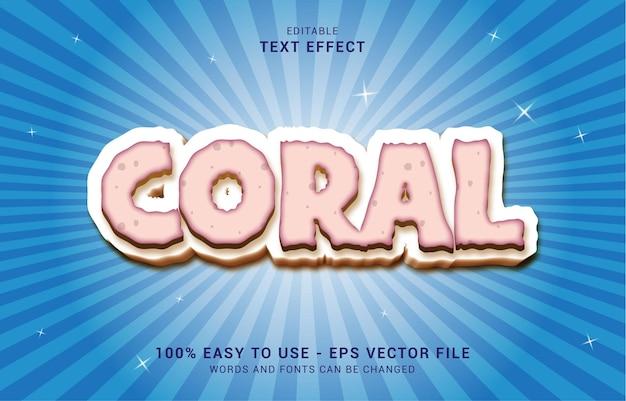 Bewerkbaar teksteffect, koraalstijl kan worden gebruikt om titel te maken