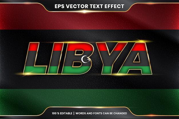 Bewerkbaar teksteffect - libië met zijn nationale landvlag