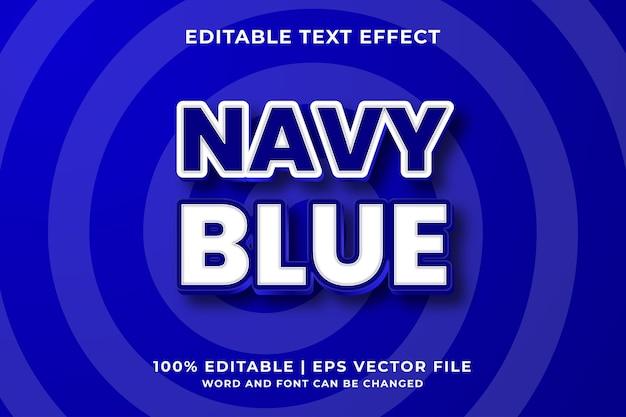 Bewerkbaar teksteffect - marineblauwe 3d vetgedrukte sjabloonstijl premium vector
