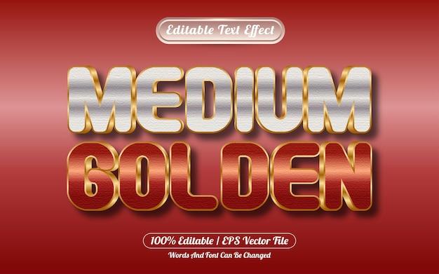 Bewerkbaar teksteffect medium gouden stijl