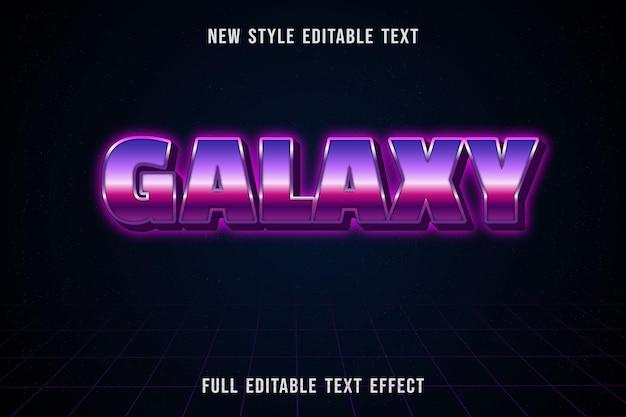 Bewerkbaar teksteffect melkwegkleur roze en paars