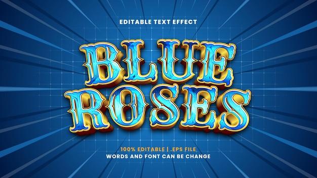 Bewerkbaar teksteffect met blauwe rozen in moderne 3d-stijl