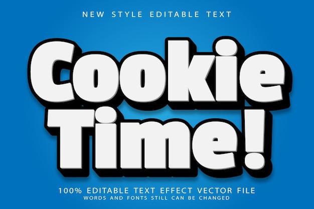 Bewerkbaar teksteffect met cookietijd in reliëf in moderne stijl