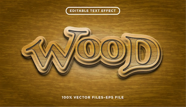 Bewerkbaar teksteffect met premium vectoren voor houtstructuur