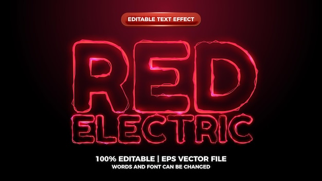 Bewerkbaar teksteffect met rode elictric wave