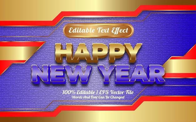 Bewerkbaar teksteffect met sjabloonstijl voor gelukkig nieuwjaar