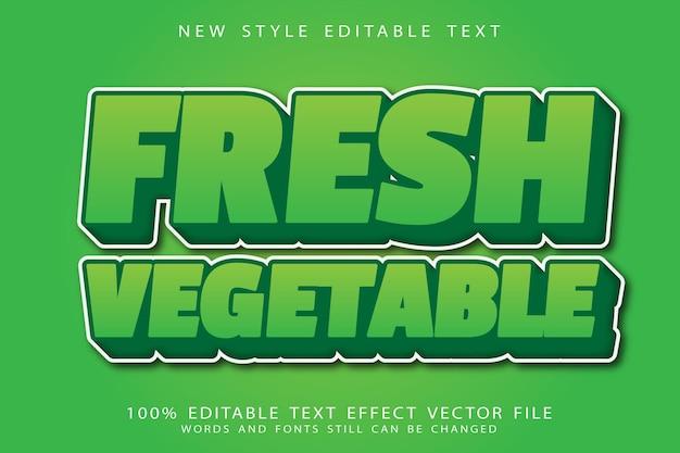 Bewerkbaar teksteffect met verse groenten in reliëf in moderne stijl