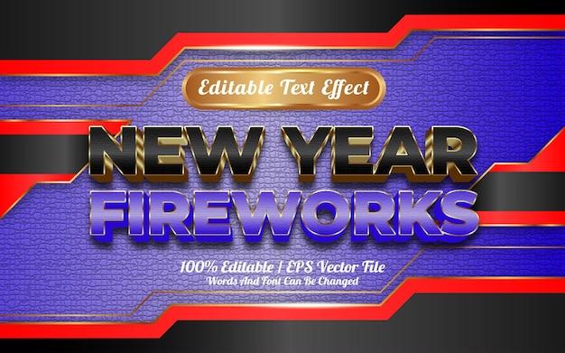 Bewerkbaar teksteffect met vuurwerkthema voor het nieuwe jaar