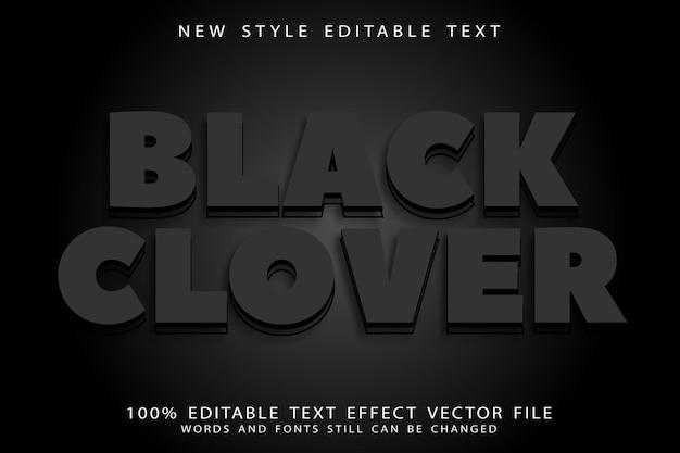 Bewerkbaar teksteffect met zwarte klaver in reliëf in moderne stijl