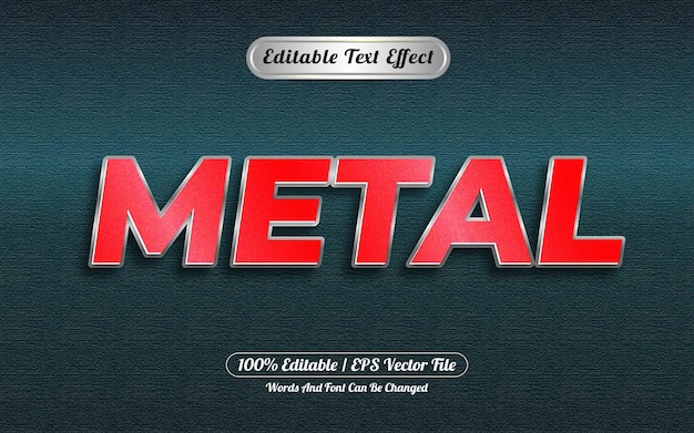 Bewerkbaar teksteffect metaalstijl zilver