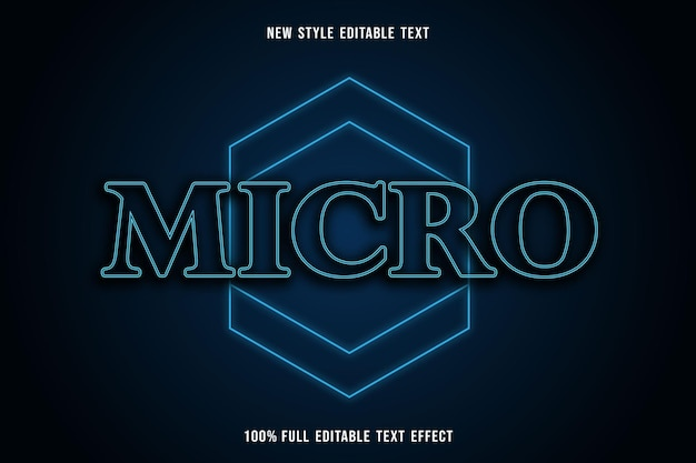 Bewerkbaar teksteffect micro kleur blauw en zwart
