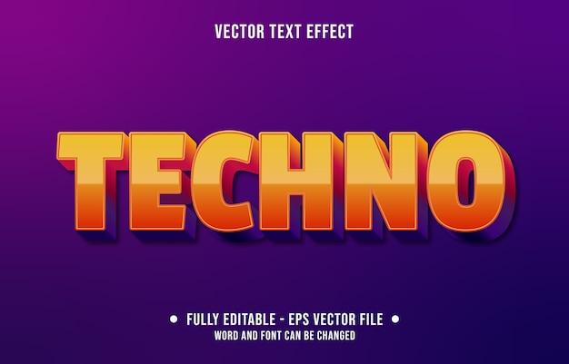 Bewerkbaar teksteffect moderne oranje technostijl