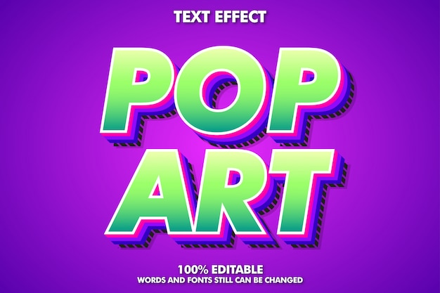 Bewerkbaar teksteffect, moderne pop-art typografie