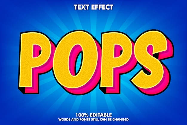 Bewerkbaar teksteffect moderne retro pop-art tekststijl