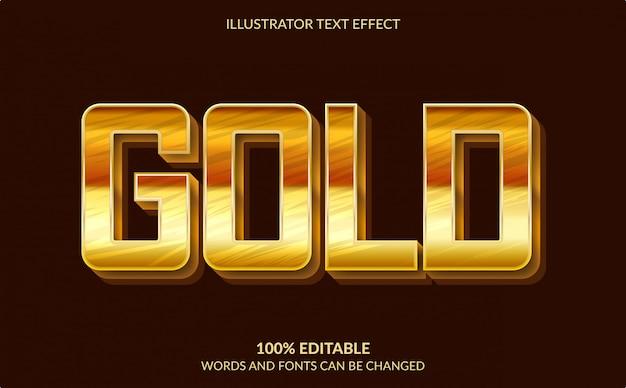 Bewerkbaar teksteffect, moderne sterke vetgedrukte gouden tekststijl