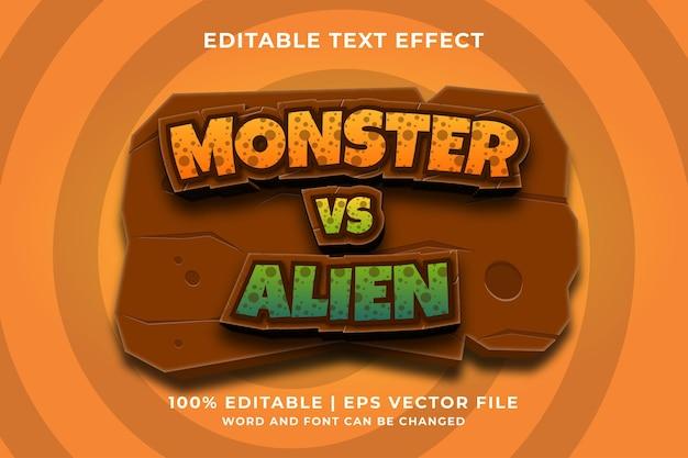 Bewerkbaar teksteffect - monster vs alien 3d-sjabloonstijl premium vector