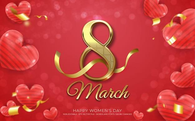 Bewerkbaar teksteffect, mooie damesdag maart gouden stijlillustraties