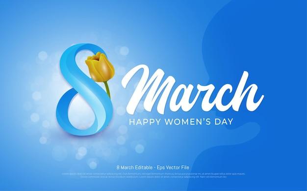 Bewerkbaar teksteffect, mooie gelukkige vrouwendag 8 maart met de stijl van vrouwensilhouetten