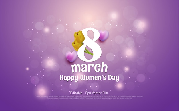 Bewerkbaar teksteffect, mooie vrouwendag 8 maart